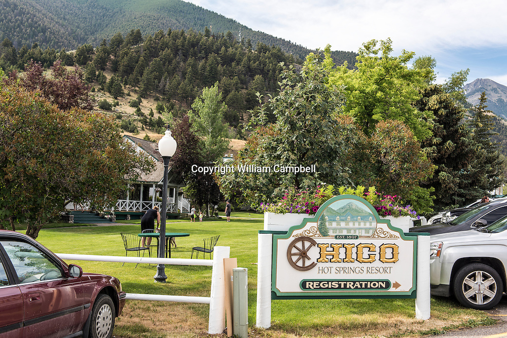 The entrance to the world famous. locally owned, Chico Hot Springs Resort. Emigrant Peak is in the background far right.