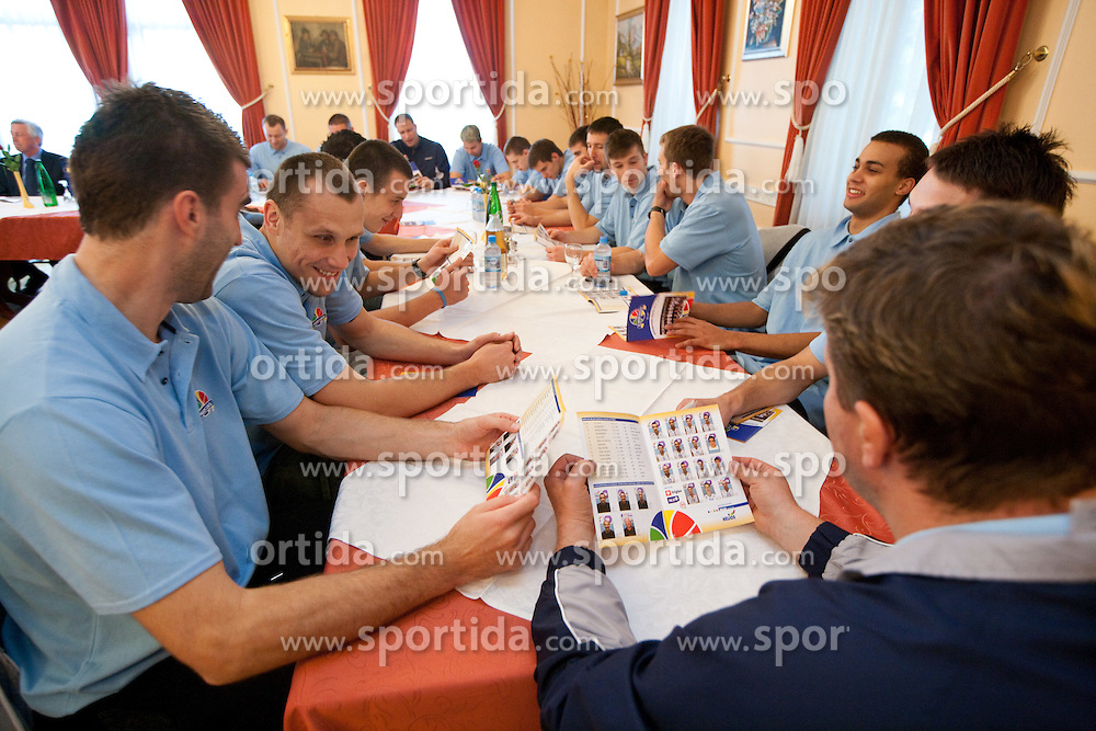 Players during press conference of basketball team KK Helios Domzale before new season 2010-2011, on September 27, 2010 in Domzale, Slovenia. (Photo By Vid Ponikvar / Sportida.com)