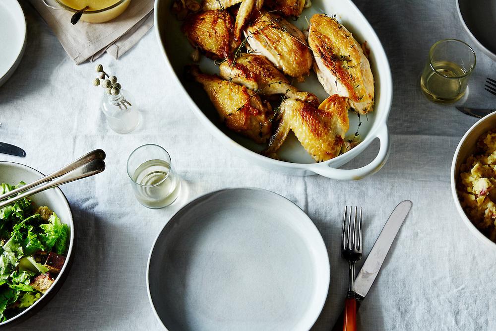 Super Quick Roast Chicken with Garlic and White Wine Gravy