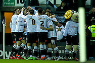 Derby players celebrate a goal by Jacob Butterfield of Derby County (no.18) during the Sky Bet Championship match at the iPro Stadium, Derby<br /> Picture by Andy Kearns/Focus Images Ltd 0781 864 4264<br /> 24/02/2016