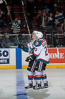 KELOWNA, CANADA - JANUARY 7: Erik Gardiner #12 and brother Reid Gardiner #23 of the Kelowna Rockets celebrate their first game together as teammates with a shoot out win against the Kamloops Blazers on January 7, 2017 at Prospera Place in Kelowna, British Columbia, Canada.  (Photo by Marissa Baecker/Shoot the Breeze)  *** Local Caption ***