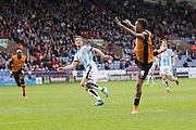 Hull City striker Abel Hernandez (9)  heads the ball back across goal during the Sky Bet Championship match between Huddersfield Town and Hull City at the John Smiths Stadium, Huddersfield, England on 9 April 2016. Photo by Simon Davies.
