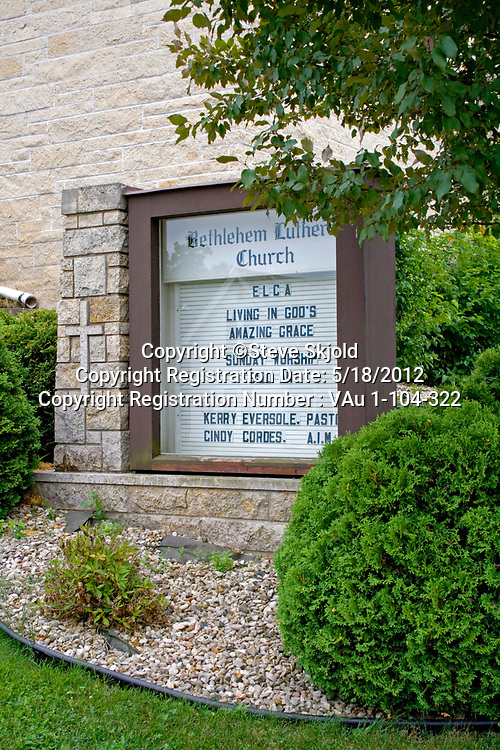 Sunday worship schedule of services sign. Bethlehem Lutheran Church Lanesboro Minnesota MN USA
