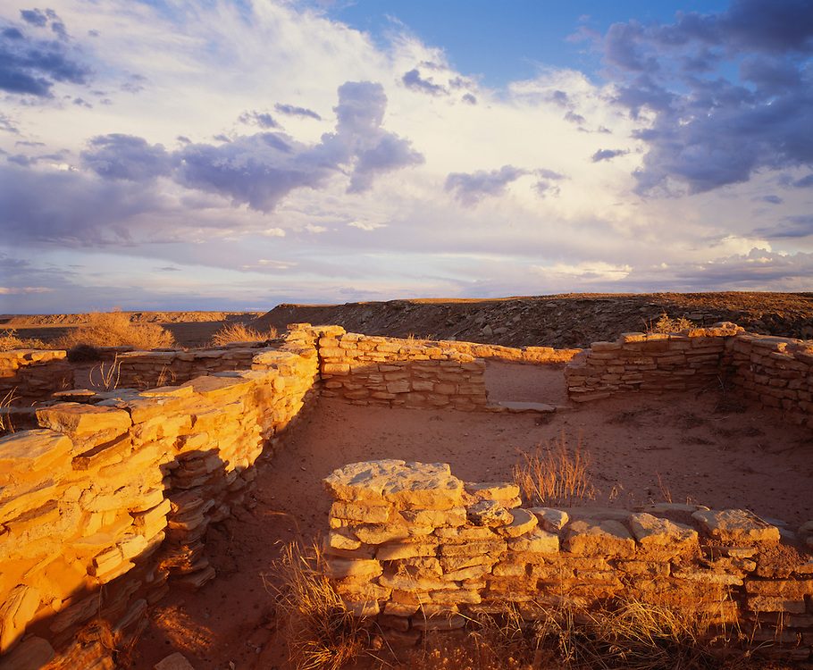 0113-1047 ~ Copyright: George H. H. Huey ~ Ruins of the Puerco Pueblo [ca. A.D. 950-1300]. Anasazi culture. Petrified Forest National Park, Arizona.