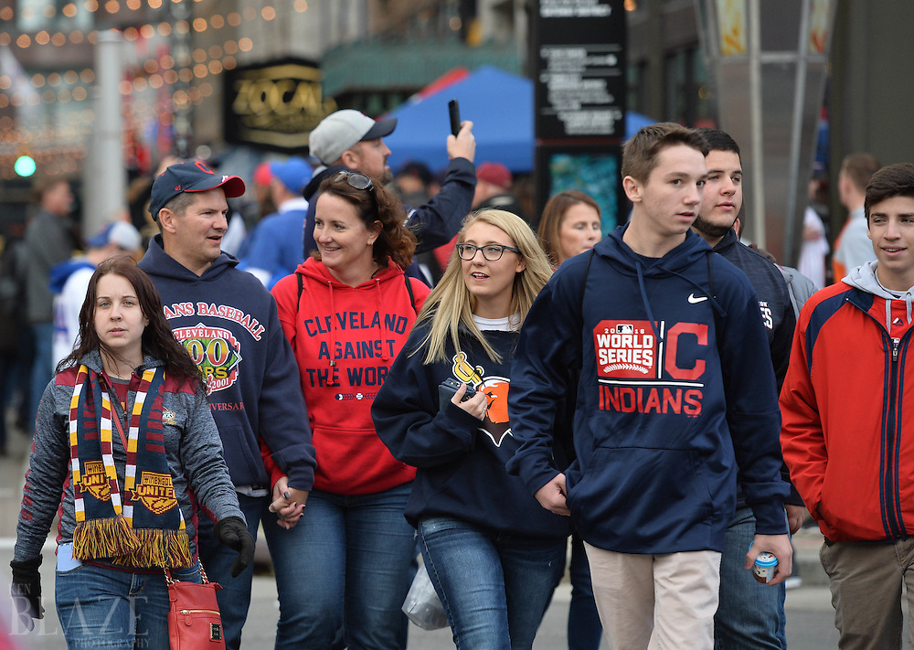 Oct 25, 2016; Cleveland, OH, USA; Baseball fans arrive before game one of the 2016 World Series between the Chicago Cubs and the Cleveland Indians at Progressive Field. Mandatory Credit: Ken Blaze-USA TODAY Sports