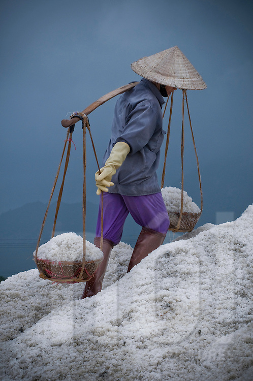 Vietnamese worker harvest brackish in salt marsh of Doc Let, Vietnam, Asia. Carries salt in baskets with help of its yoke. Labor in salines is done by women.