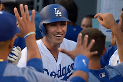 June 10, 2017 - Los Angeles, California, U.S. - Los Angeles Dodgers' Cody Bellinger high fives teammates after hitting a solo home run against the Cincinnati Reds in the first inning of a Major League baseball game at Dodger Stadium on Saturday, June 10, 2017 in Los Angeles. (Photo by Keith Birmingham, Pasadena Star-News/SCNG) (Credit Image: © San Gabriel Valley Tribune via ZUMA Wire)