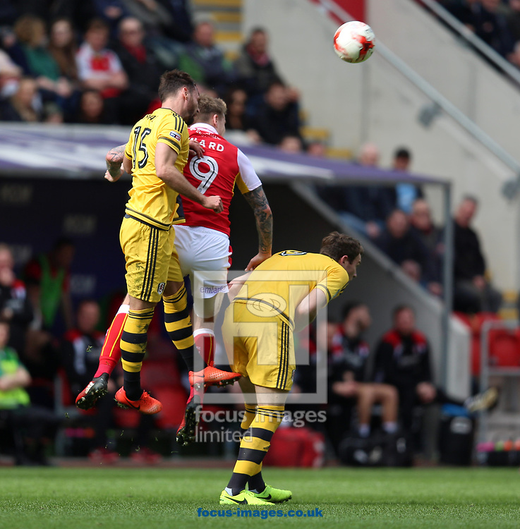 Danny Ward of Rotherham United is beaten in the air by Michael Madl (left) of Fulham during the Sky Bet Championship match at the New York Stadium, Rotherham<br /> Picture by James Wilson/Focus Images Ltd 07709 548263<br /> 01/04/2017
