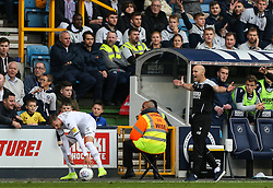 Millwall caretaker manager Adam Barrett appeals to the official for a throw in - Mandatory by-line: Arron Gent/JMP - 05/10/2019 - FOOTBALL - The Den - London, England - Millwall v Leeds United - Sky Bet Championship