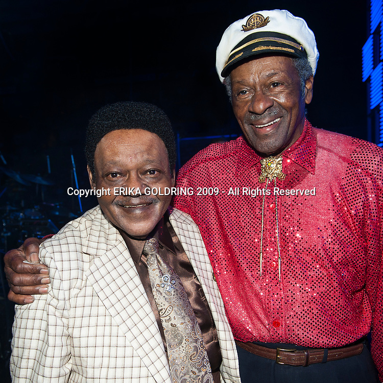 Fats Domino and Chuck Berry backstage at the Domino Effect Concert on May 30, 2009, in New Orleans, LA.