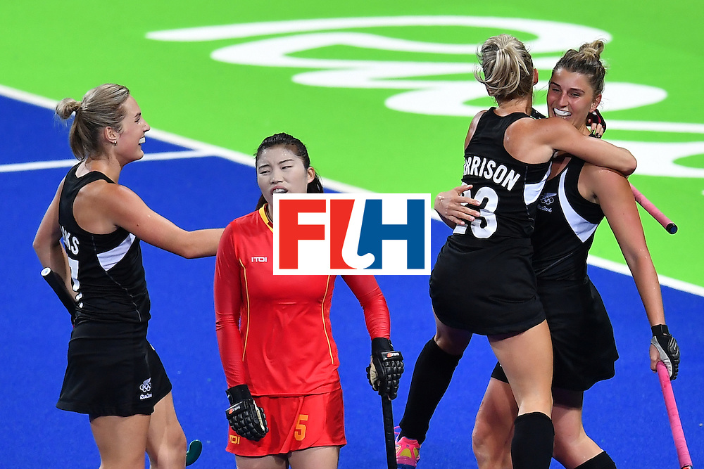 New Zealand's players celebrate scoring during the women's field hockey China vs New Zealand match of the Rio 2016 Olympics Games at the Olympic Hockey Centre in Rio de Janeiro on August, 13 2016. / AFP / MANAN VATSYAYANA        (Photo credit should read MANAN VATSYAYANA/AFP/Getty Images)
