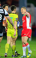 Travis Burns (right) of Hull Kingston Rovers argues with Ref James Child during the First Utility Super League match at Craven Park, Hull<br /> Picture by Richard Gould/Focus Images Ltd +44 7855 403186<br /> 17/04/2014
