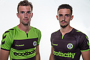 Forest Green Rovers Christian Doidge and Forest Green Rovers Liam Shephard(2) wearing the new kit for the 2018/19 season during the 2018/19 official team photocall for Forest Green Rovers at the New Lawn, Forest Green, United Kingdom on 30 July 2018. Picture by Shane Healey.