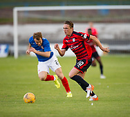 Dundee&rsquo;s Scott Allan races past Cowdenbeath's Jamie Pyper - Cowdenbeath v Dundee in the Betfred Cup at Central Park, Cowdenbeath - Picture by David Young<br /> <br />  - &copy; David Young - www.davidyoungphoto.co.uk - email: davidyoungphoto@gmail.com