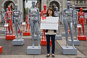 Actresses Jodie Whittaker launches ActionAid's International Safe Cities for Women Day at Marble Arch, with an interactive exhibition featuring a group of 30 mannequins, London.<br /> Picture date: Thursday May 19, 2016. A third of the mannequins featured in the installation will be marked in red, to represent the one in three women who experience violence in their lifetimes. But behind every statistic is a real woman, and on each mannequin are quotes from women around the world telling their experience of urban violence and the stories behind the statistics. ActionAid is campaigning for the UK government to commit to increasing the proportion of aid going directly to women's groups working on the frontline in poor communities. (photo by Andrew Aitchson/ActionAid)