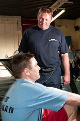 Prisoner being supervised in the gym, HMP Barlinnie, Glasgow
