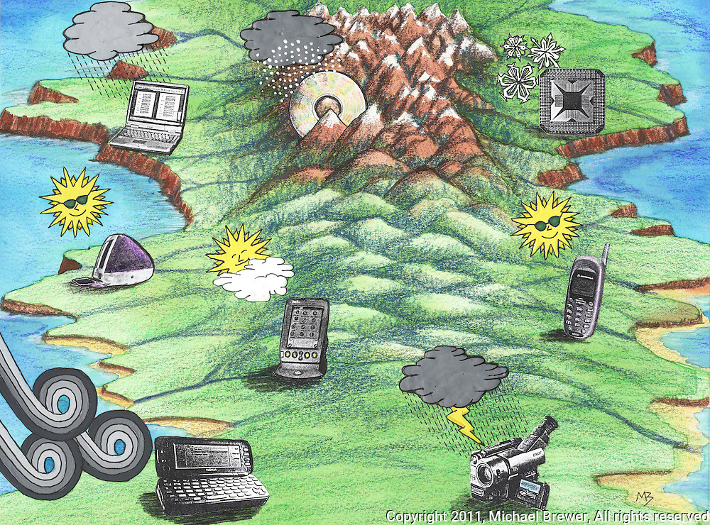 A topological map of a landscape that looks like a weather map but underneath each of the weather symbols is an item of communication technology, such as: laptop, computer, smart phone, mobile phone, video camera, DVD.