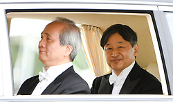 May 1, 2019 - Tokyo, Japan - Japan's new emperor, NARUHITO ( right ) rides on a vehicle in front of the Japanese Imperial Palace in Tokyo Japan. Naruhito ascends the Chrysanthemum throne in a very different Japan to the one his father took over in 1989. (Credit Image: © Ramiro Agustin Vargas Tabares/ZUMA Wire)