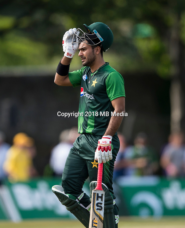 EDINBURGH, SCOTLAND - JUNE 12: Hussain Talat of Pakistan during the International T20 Friendly match between Scotland and Pakistans at the Grange Cricket Club on June 12, 2018 in Edinburgh, Scotland. (Photo by MB Media/Getty Images)