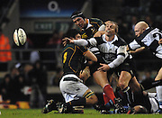 Twickenham, GREAT BRITAIN, Baa Baa's, Justin MARSHALL,  passes  out from the back of the scrum, during the, Gartmore Challenge -  Barbarians vs South Africa, rugby match at Twickenham Stadium, ENGLAND.  [Mandatory Credit Peter Spurrier/Intersport Images].