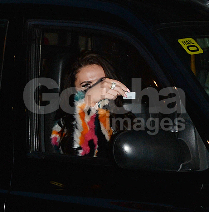 Charlotte Dawson leaving the Ham Yard Hotel driving a black taxi in London, UK. 19/04/2016<br />