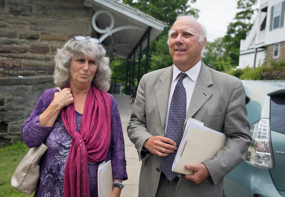 Vera Scroggins leaves hearing with her lawyer Gerald Kinchy in Montrose, PA after signing an A.R.D. agreement instead of facing a trial over wiretapping charges.
