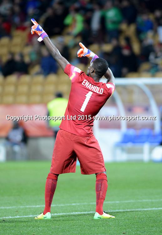 Nigeria's goal keeper celebrates a goal during the FIFA U-20 World Cup New Zealand. Hungary vs Nigeria, played at Stadium Taranaki, New Plymouth NZ, Sunday 7th June 2015.  <br />  Photo John Velvin / ESPNZ