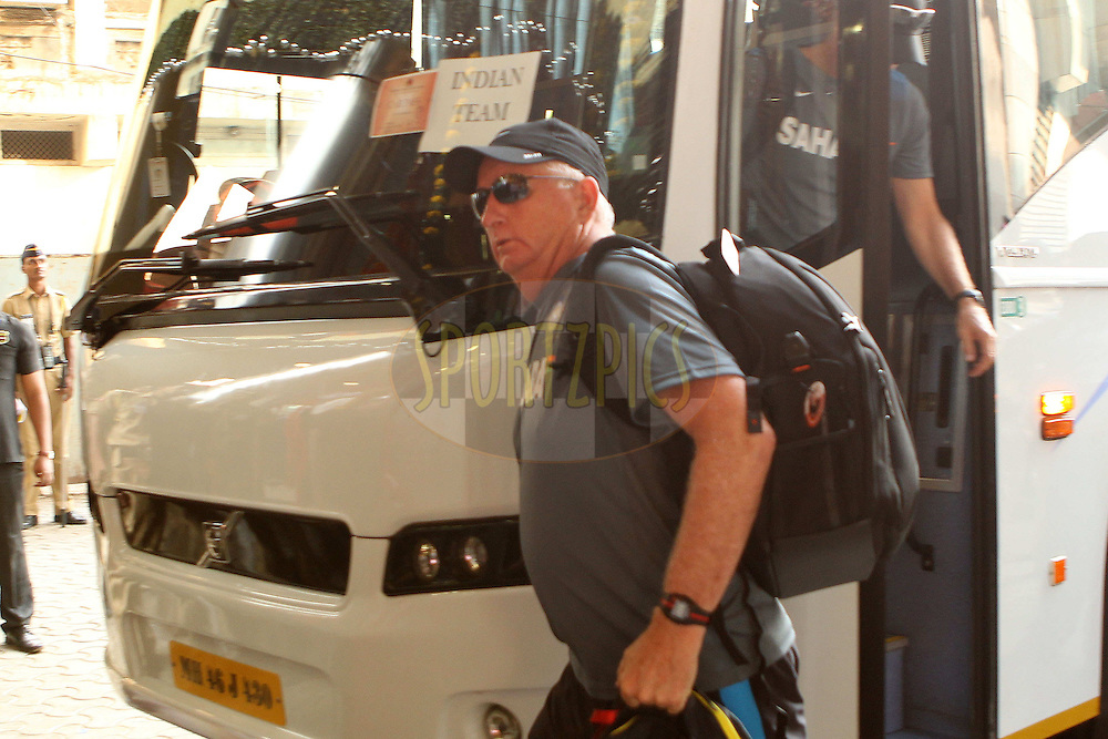 Duncan Fletcher arrives at the stadium during day two of the second Star Sports test match between India and The West Indies held at The Wankhede Stadium in Mumbai, India on the 15th November 2013<br /> <br /> This test match is the 200th test match for Sachin Tendulkar and his last for India.  After a career spanning more than 24yrs Sachin is retiring from cricket and this test match is his last appearance on the field of play.<br /> <br /> <br /> Photo by: Ron Gaunt - BCCI - SPORTZPICS<br /> <br /> Use of this image is subject to the terms and conditions as outlined by the BCCI. These terms can be found by following this link:<br /> <br /> http://sportzpics.photoshelter.com/gallery/BCCI-Image-Terms/G0000ahUVIIEBQ84/C0000whs75.ajndY