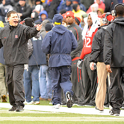 Dec 5, 2009; Piscataway, NJ, USA; Rutgers head coach Greg Schiano yells instructions to his sideline during first half NCAA Big East college football action between Rutgers and West Virginia at Rutgers Stadium.