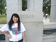 Giselle Hernandez, Chavez High School, visits the WWII Memorial while attending the Future Latino Leaders Law Camp in Washington, D.C.
