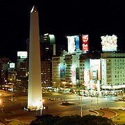 A panoramic view of the obelisk in Plaza de la Republica, Buenos AIres, Argentina. 23rd July 2011. Photo Tim Clayton