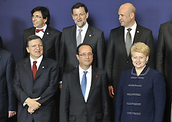 Front L To R ,European Commission President Jose Manuel Barroso French President Francois Hollande Lithuanian President Dalia Grybauskaite. BACK L TO R Belgian Prime Ministers Elio Tue Rupo, Spanish Prime Ministers Mariano Rajoy, Swedish Prime Ministers Fredirk Reinfeldt, attend The Group Photo Session of to Informal Dinner of European Union EU Leaders in Brussels, Belgium, May 23 2012. Photo By  XINHUA/Imago/i-Images