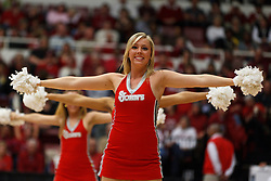 March 21, 2011; Stanford, CA, USA; A St. John's Red Storm cheerleader performs during the second half of the second round of the 2011 NCAA women's basketball tournament against the Stanford Cardinal at Maples Pavilion. Stanford defeated St. John's 75-49.