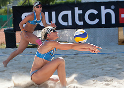 Andrej Vodeb and Simona Fabjan of Slovenia at A1 Beach Volleyball Grand Slam presented by ERGO tournament of Swatch FIVB World Tour 2012, on July 18, 2012 in Klagenfurt, Austria. (Photo by Matic Klansek Velej / Sportida)