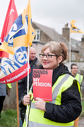 PCS member Aurelia Smith from who traveled from Durham to attend the event on Saturday..Members PCS union hold a rally outside Nick Cleggs Constituency Office, to raise awareness of the fact that this month will see the first  increased contributions coming out of their salaries to pay for the changes to public sector pensions. It is the first in a series of hands off our pensions red card protest outside key ministerial constituencies over the Easter recess...http://www.pauldaviddrabble.co.uk.14 April 2012 .Image © Paul David Drabble