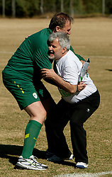 Ivan Simic of NZS vs Branko Vekic during friendly match between Slovenian football journalists and officials of Slovenian football federation at  Hyde Park High School Stadium on June 16, 2010 in Johannesburg, South Africa.  (Photo by Vid Ponikvar / Sportida)