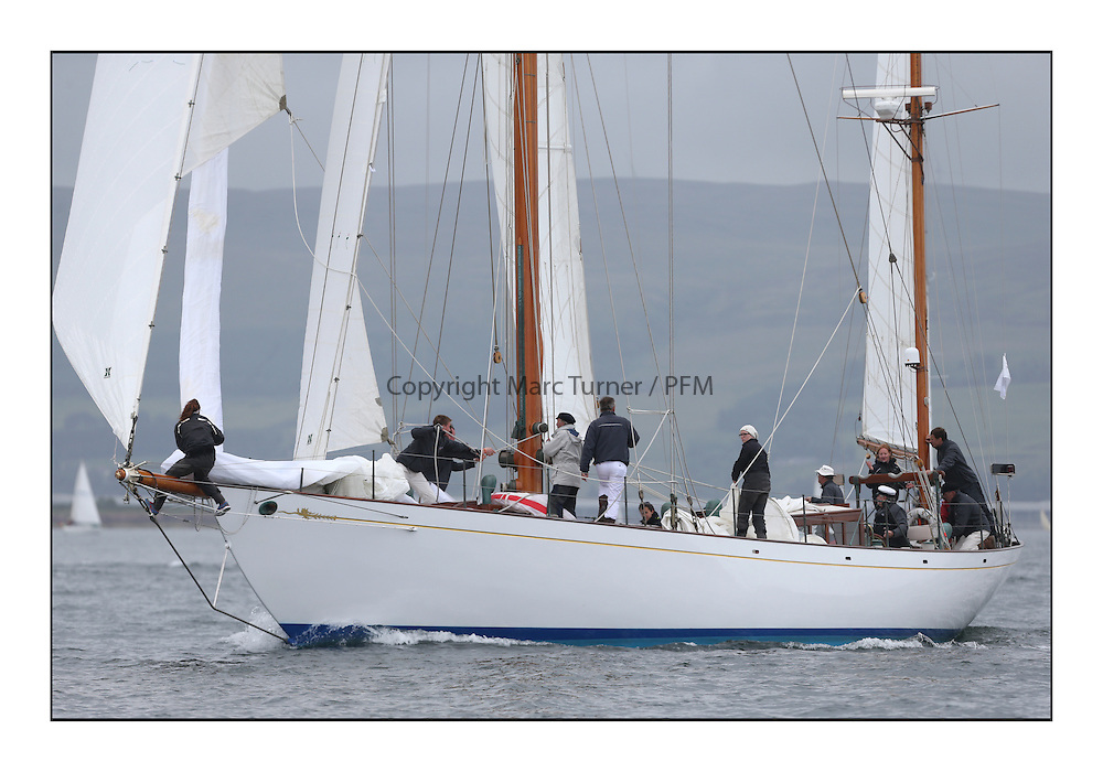 Day one of the Fife Regatta, Round Cumbraes Race.<br /> <br /> Latifa, 8, Mario Pirri, ITA, Bermudan Yawl, Wm Fife 3rd, 1936<br /> <br /> * The William Fife designed Yachts return to the birthplace of these historic yachts, the Scotland&rsquo;s pre-eminent yacht designer and builder for the 4th Fife Regatta on the Clyde 28th June&ndash;5th July 2013<br /> <br /> More information is available on the website: www.fiferegatta.com