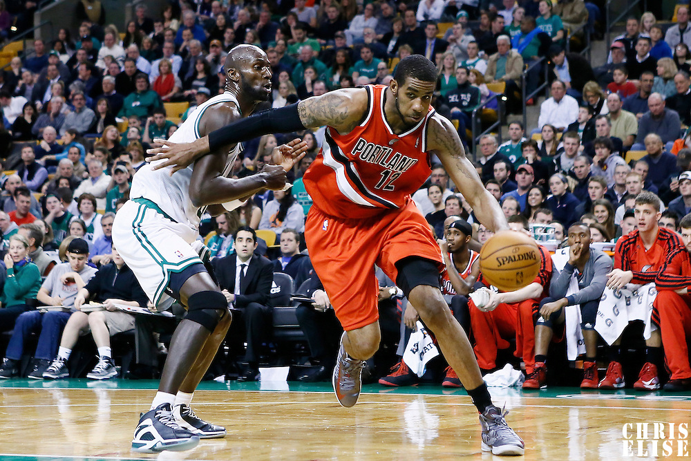 30 November 2012: Portland Trail Blazers power forward LaMarcus Aldridge (12) drives past Boston Celtics power forward Kevin Garnett (5) during the Boston Celtics 96-78 victory over the Portland Trail Blazers at the TD Garden, Boston, Massachusetts, USA.