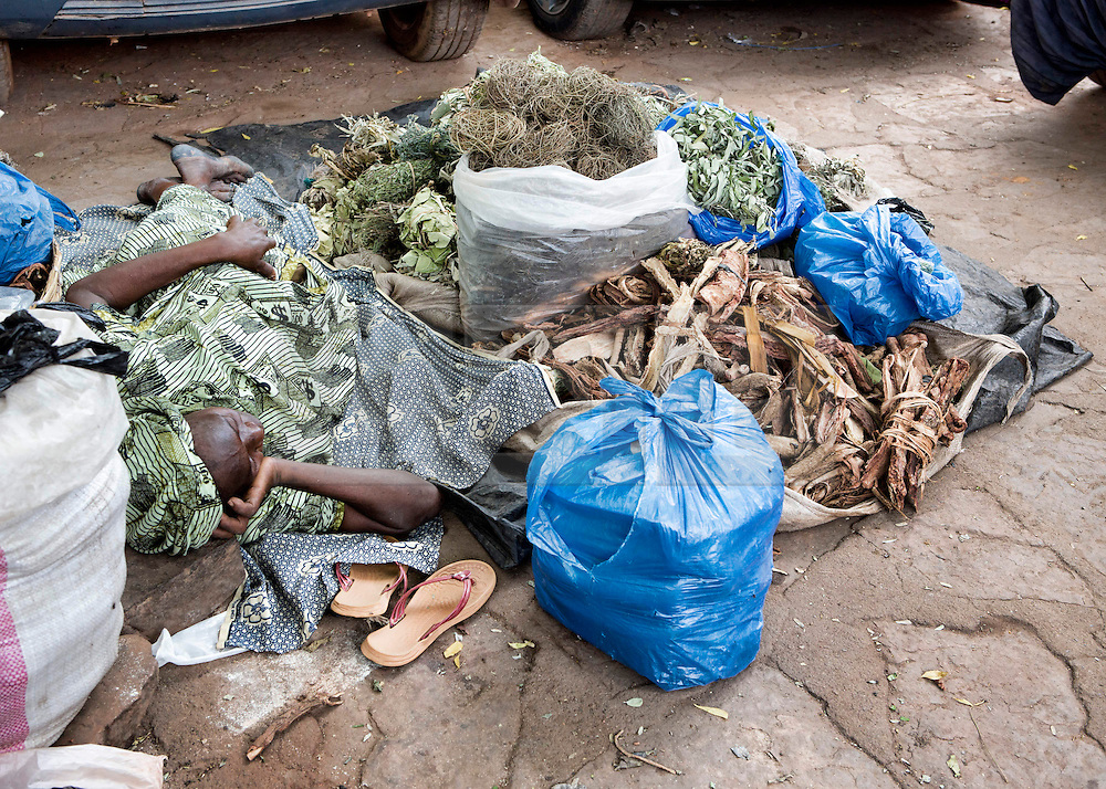 © Licensed to London News Pictures. 25/06/2013. Bamako,  Mali.  An elderly woman lies amongst her herbal remedies that are sold within the markets of Bamako.  Despite the recent intervention by the French in Mali life in Bamako carries on as normal.  Largely unaffected by the conflict the residents of the city rely heavily on the produce from the local markets.  As one of the 25 poorest countries in the world Mali relies heavily on imported and self manufactured goods which are sold within these markets.     Photo credit: Alison Baskerville/LNP