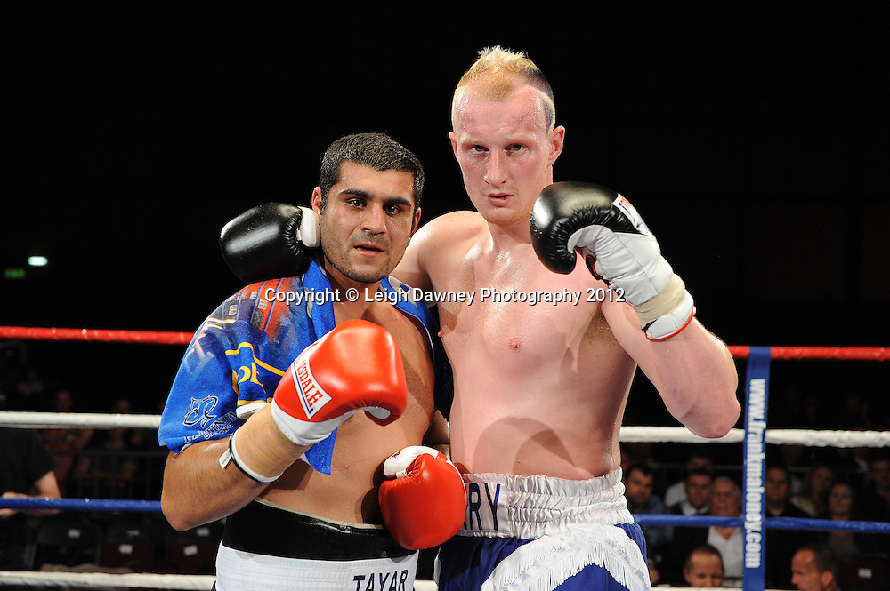 Gary Cornish defeats Tayar Mehmed in a 4x3 min Heavyweight contest at the Bowlers Exhibition Centre, Manchester, on the 2nd June 2012. Frank Maloney Promotions © Leigh Dawney Photography 2012.