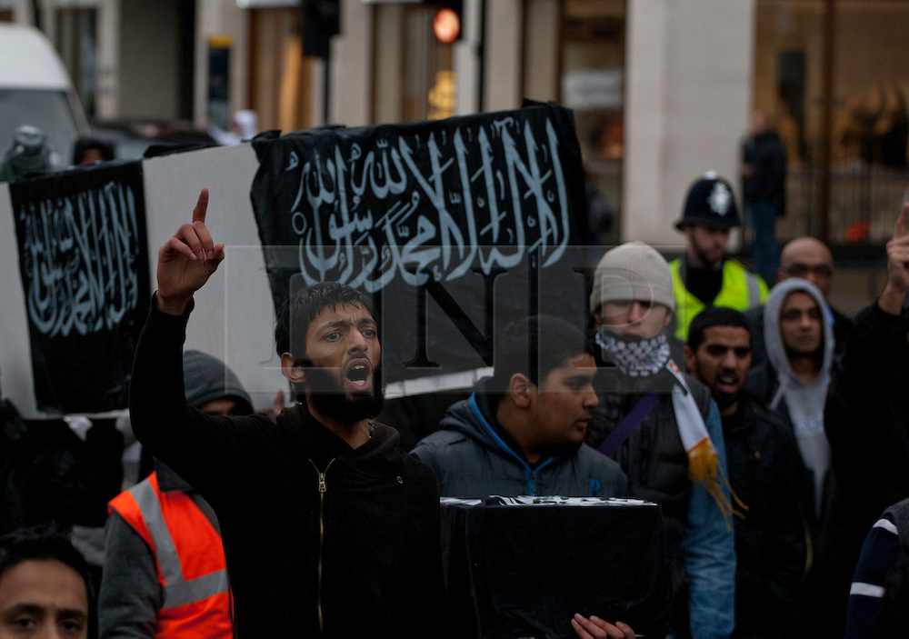 © licensed to London News Pictures. London, UK 18/02/2012. Islamist group Hizbut Tahrir marches to Syrian Embassy in London to protest against Bashar al Assad's regime. Photo credit: Tolga Akmen/LNP