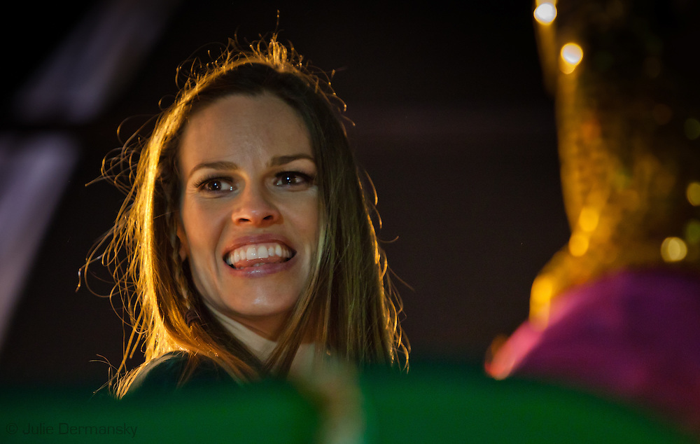 Hillary Swank  rides on a float with the Krewe of Orpheus during Mardi Gras 2012 in New Orleans