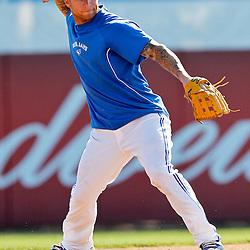 March 16, 2012; Dunedin, FL, USA; Toronto Blue Jays third baseman Brett Lawrie (13) before a spring training game against the Tampa Bay Rays at Florida Auto Exchange Stadium. Mandatory Credit: Derick E. Hingle-US PRESSWIRE