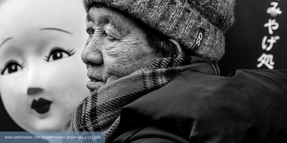 Street photo of older lady, Kyoto
