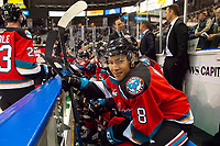KELOWNA, BC - SEPTEMBER 28:  Trevor Wong #8 of the Kelowna Rockets sits on the bench against the Everett Silvertips at Prospera Place on September 28, 2019 in Kelowna, Canada. (Photo by Marissa Baecker/Shoot the Breeze)