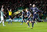 James McPake celebrates after netting only for referee Kevin Clancy (left) to rule out his effort for offside - Celtic v Dundee, SPFL Premiership at Celtic Park<br /> <br />  - &copy; David Young - www.davidyoungphoto.co.uk - email: davidyoungphoto@gmail.com