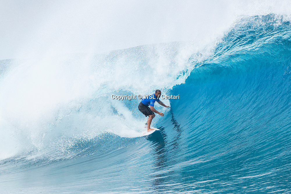 Wiggolly Dantas of Brazil, current No.25 on the Jeep Leaderboard advanced to the Quarterfinals of the Billabong Pro Tahiti after defeating current No.1 Matt Wilkinson of Australia in Heat 2 of Round Five at Teahupo'o, Tahiti.