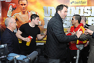 Picture by Ramsey Cardy/Focus Images Ltd +44 7809 235323.08/02/2013.Shane McGuigan and Kiko Martinez trainers are separated by Matchroom Boxing promoter Eddie Hearn at the weighs in for Frampton v Martinez  EBU Super-Bantamweight Title fight against Kiko Martinez in Odyssey Arena, Belfast.