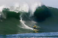 Tyler Smith surfing a monster wave at the 2008 Mavericks Surf Contest on January 12 2008