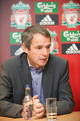 LIVERPOOL, ENGLAND - Thursday, April 30, 2009: Former Liverpool player and captain Alan Hansen at Anfield for the launch of the Hillsborough Memorial game. The match will be between a Liverpool FC legends side and a team off 'All Stars' at Anfield on May 14. (Photo by David Rawcliffe/Propaganda)